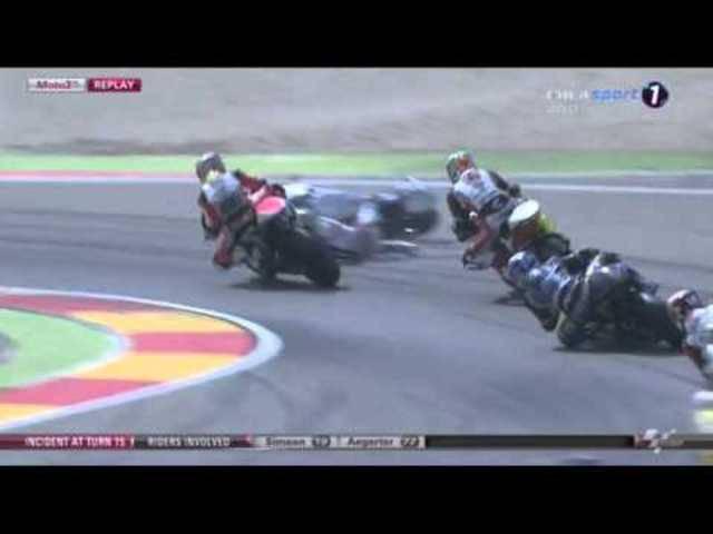 Motorradfahrer Dominique Aegerter stürzt schwer beim Grand Prix von Aragonien