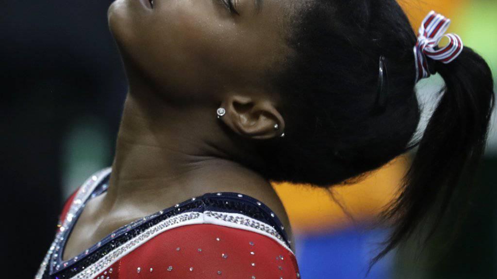 Die Amerikanerin Simone Biles musste sich am Schwebebalken für einmal mit einer Bronzemedaille begnügen