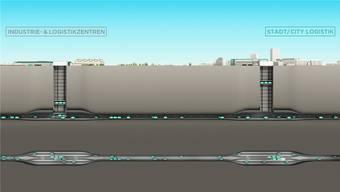 So könnte, im Querschnitt dargestellt, einst der Güterverkehr zwischen Schweizer Städten und grossen Logistik-Hubs verkehren.
