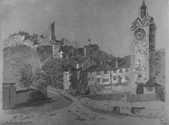 So sah es am Schulhausplatz im Juli 1814 aus. Der Abbruch des «Mellingerturms», des Oberen Tors am Cordulaplatz (damals hiess er noch Paradiesplatz), wurde 1874 wie ein Fest gefeiert. Der Durchbruch sollte Luft und Licht in die Altstadtgassen bringen.