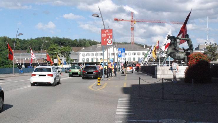 Unfallort in Olten: Die Bahnhofbrücke.