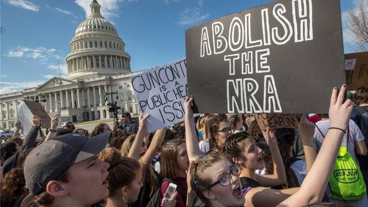 Proteste aus Solidarität: Überall in den USA (hier in Washington) demonstrieren Schüler gegen die Waffenindustrie. Jetzt ziehen auch die ersten Firmen Konsequenzen.Key