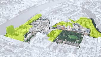 Filetstücke der Entwicklung Basels: Die Novartis hat ihre Grundstücke (gelb) auf dem Klybeck-Areal an einen privaten Investor verkauft.