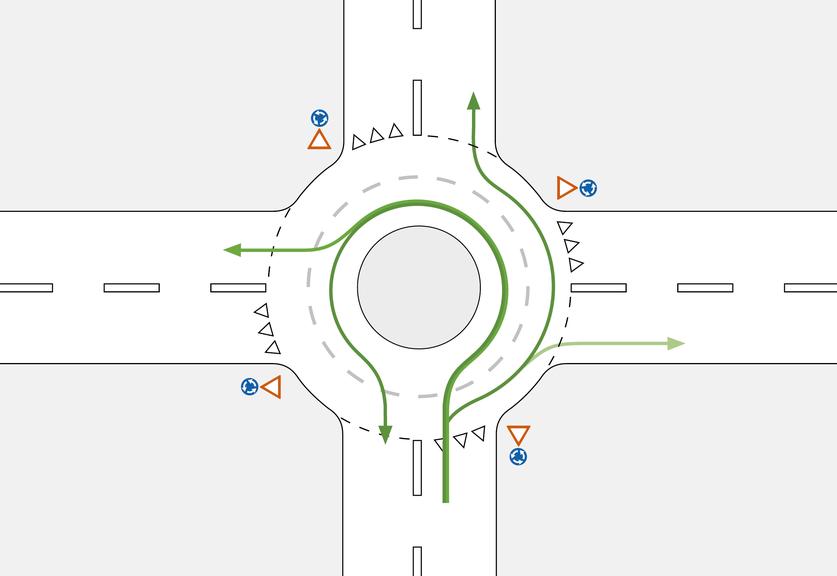 Für die erste und zweite Ausfahrt nutzt man die rechte Spur im Doppelkreisel. (Bild: Beratungsstelle für Unfallverhütung bfu)