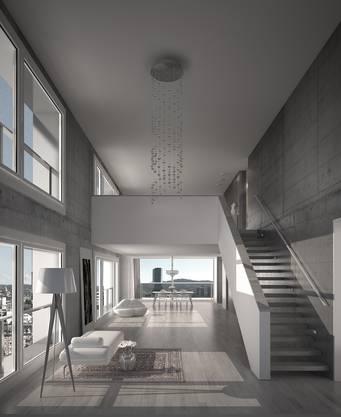 Luxus auf zwei Etagen: Die Galerie öffnet den Raum und durchflutet die Wohnung mit Licht. (Visualisierung)