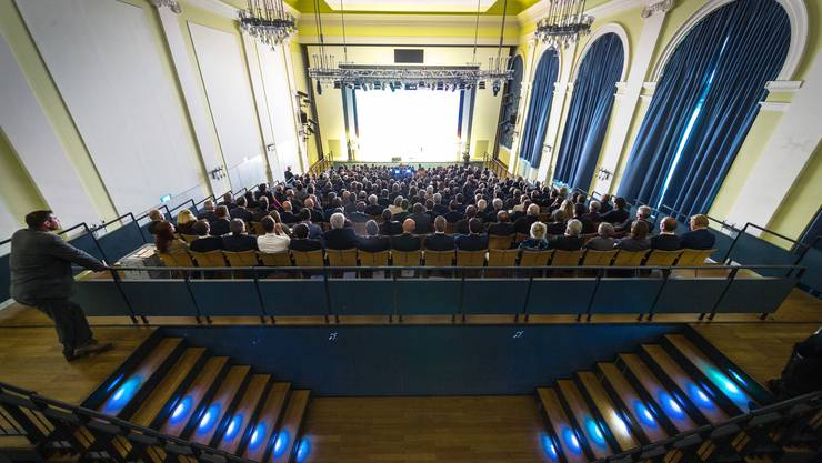 12. Wirtschaftssymposium Aargau im Kultur- und Kongresszenter KuK in Aarau. Aufgenommen am 18. Januar 2017. Im Bild: Ein voller Saal.
