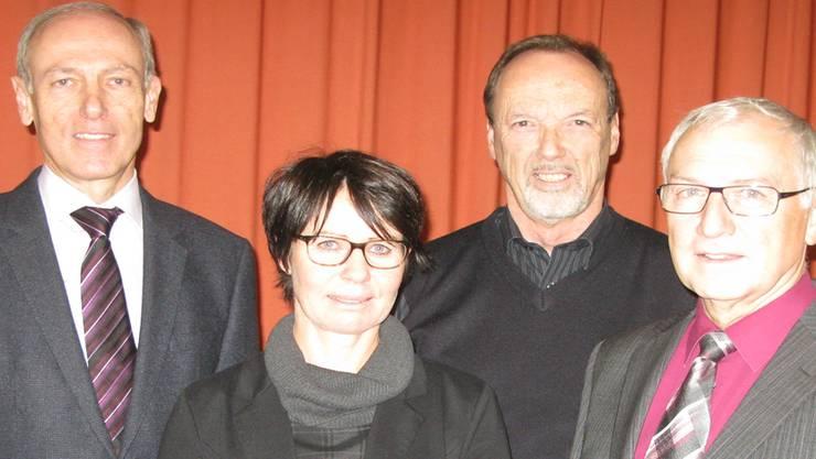 Die engagierte Verwaltung der Genossenschaft «Stadtpark»: (v.l.) Hans-Jörg Nikles, Sandra Zimmerli (Heimleiterin), Peter Marti und Dominik Stirnimann (Präsident)