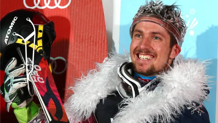 2 mal Olympia-Gold. 7 Mal WM-Gold. Und dazu 8 Mal in Serie den Gesamtweltcup gewonnen. Marcel Hirscher - der Ski-König. Bild: Keystone