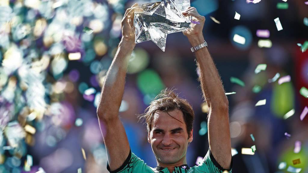 Roger Federer jubelt in Indian Wells