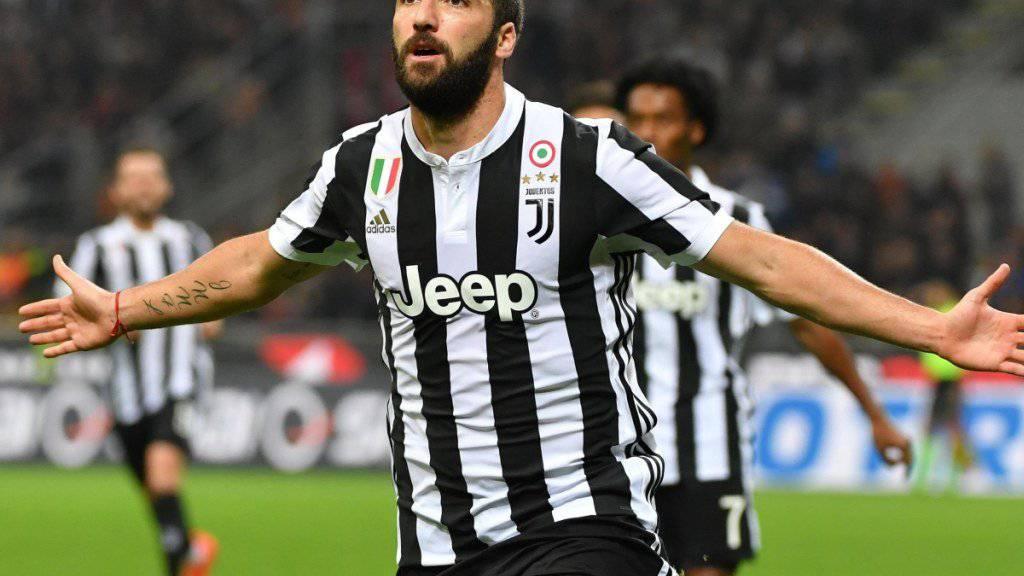 Der Matchwinner im San Siro mit seinen zwei Toren gegen Milan: Juventus Turins Stürmer Gonzalo Higuain