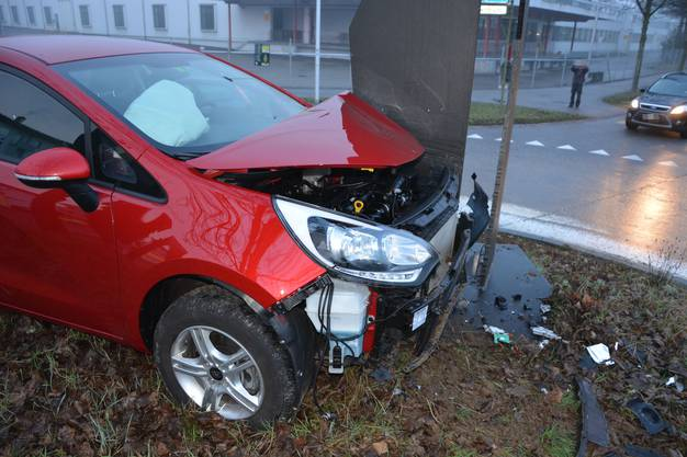 Das Auto fuhr gerade aus und krachte frontal in das Kunstwerk auf dem Kreisel hinein