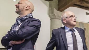 Kampf um die Macht im Kanton Bern: Der Sozialdemokrat Bernasconi (links) gegen den SVP-Mann Pierre Alain Schnegg. (Archivbild)