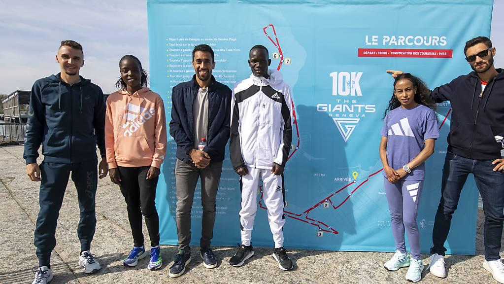 Agnes Tirop, Zweite von links neben Julien Wanders, startete Anfang Oktober noch beim Strassenlauf in Genf.