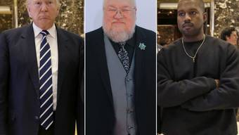 "Wenn's um den Nobelpreis geht, kennen Zocker nichts. Für den Literatur-Nobelpreis stehen heuer sogar (v.l.) US-Präsident Donald Trump, ""Game of Thrones""-Autor George R.R. Martin und Rapper Kanye West auf den Listen der Buchmacher. (Archivbilder)"