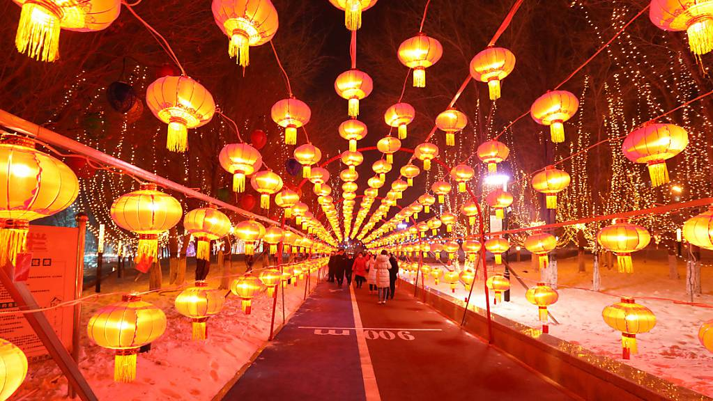 Das Laternenfest in Bortala findet zur Begrüßung des neuen Jahres statt. Foto: Tpg/TPG via ZUMA Press/dpa