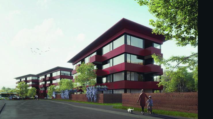 Blick von der Bruggerstrasse aus auf die drei Gebäude der Wohnüberbauung, in denen 70 bis 80 Mietwohnungen entstehen sollen.