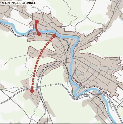 Die Grundvariante Martinsbergtunnel stand schon bei der einstigen Planung der Siggenthaler Brücke in den 70er-Jahren mit direktem Durchstich in Richtung Autobahnanschluss in Dättwil zur Diskussion. Zur Entlastung von Nussbaumen wird eine Spange über die Limmat in Betracht gezogen. Eine Untervariante sieht die Sperrung der Hochbrücke für den motorisierten Verkehr vor; weiter südlich wäre dann eine neue Limmatbrücke notwendig.