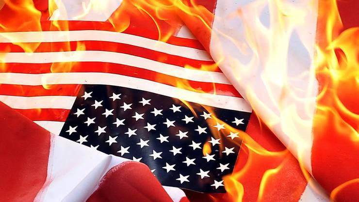 Demonstranten haben am amerikanischen Nationalfeiertag aus Protest gegen den Rassismus Fahnen verbrannt. (Archivbild)