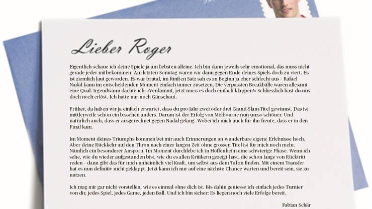 Gratulationsbrief von Fabian Schär an Roger Federer.
