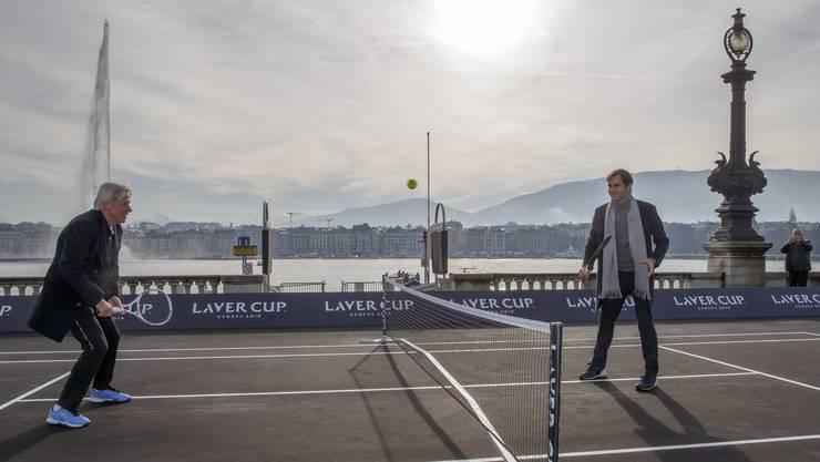 Teil der Inszenierung: Björn Borg und Roger Federer an den Gestaden des Lac Léman.