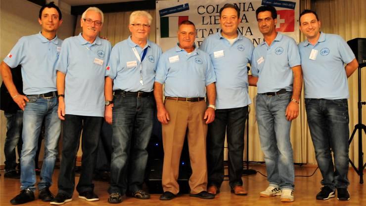 Der Vorstand der Colonia Libero Italiana, Grenchen (von links): Daniele Barone, Rocco Finelli, Stanislao Martucci, Filippo Mete, Salvatore Bandiera, Präsident, Giuseppe Gugliotta, Franco Mete.