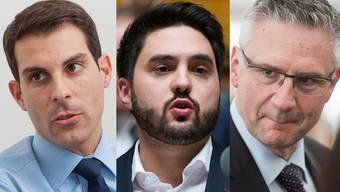 Aargauer Nationalräte äussern sich zu Jonas Frickers Rücktritt. Von links nach rechts: Thierry Burkart, Cédric Wermuth, Andreas Glarner.