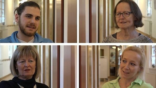 Leben mit Demenz: Der Pfleger, die Patientin (oben rechts), die Schwester, die Stationsleiterin
