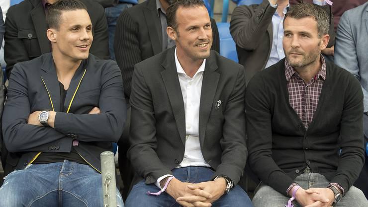 Der künftige Verwaltungsrat und die ehemaligen zwei: David Degen, Marco Streller und Alex Frei.