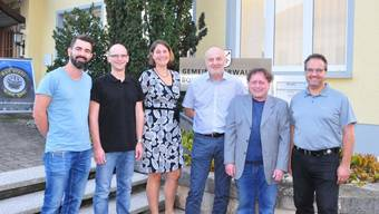 Der neue Gemeinderat (von links): Rolf Nussbaumer, Stefan Frei, Gemeindeschreiberin Gabriela Lack, Manfred Zimmerli, Beat Wyttenbach und Uwe Zazzi.