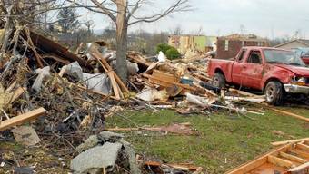 Sturmschäden bei Meridianville im Bundesstaat Alabama