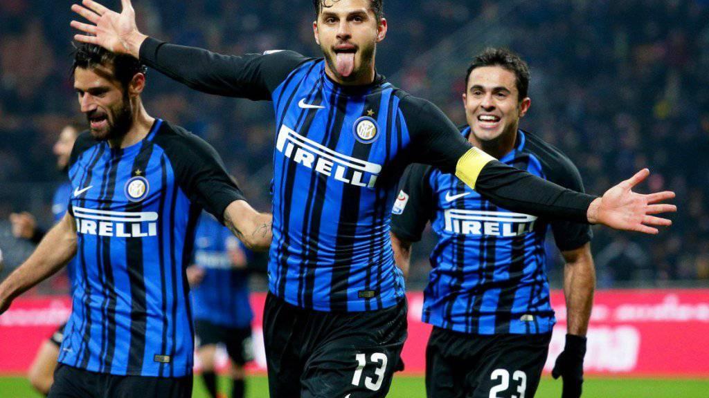 Inter-Captain Andrea Ranocchia jubelt nach seinem Tor gegen Benevento