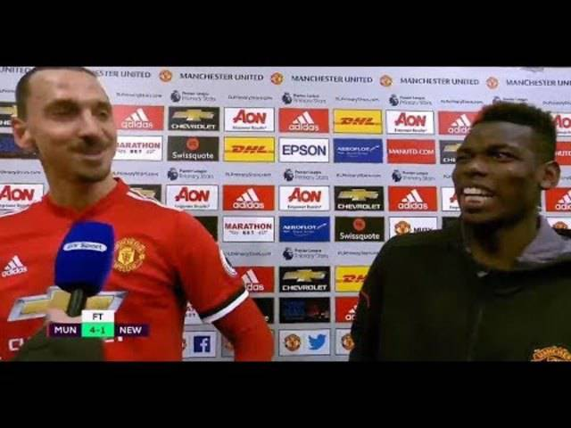 Pogba und Zlatan Interview nach dem Spiel gegen Newcastle (englisch)