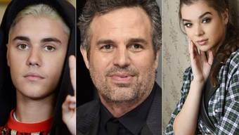 Mehrere Stars haben auf Social Media einen Buben aus Memphis getröstet, der von Schulkameraden wegen seines Aussehens geplagt wird, u.a. (v.l.) Justin Bieber, Mark Ruffalo und Hailee Steinfeld. (Archivbilder)