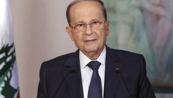 """""""Kritischer Wendepunkt"""": Der libanesische Staatspräsident Michel Aoun bei einer Fernsehansprache am Donnerstag."""