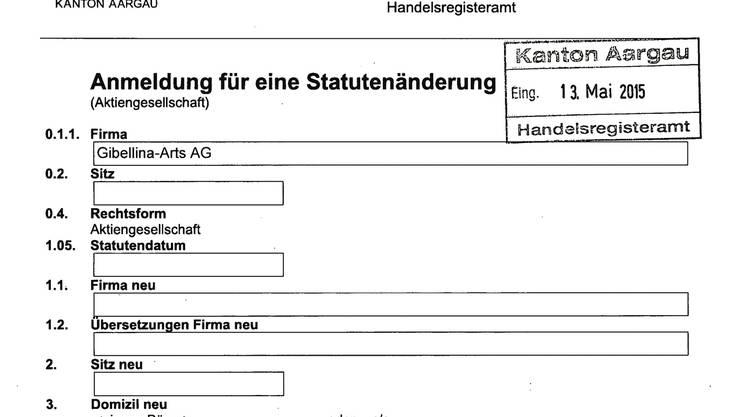 Das vierseitige Dokument (hier die erste Seite) zeigt klar: Bei «Domizil neu» und «Gebührenadresse» wird die Rathausgasse 1 in Baden aufgeführt.