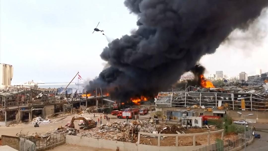 Wieder grosses Feuer im Hafen von Beirut - Ursache zunächst unklar