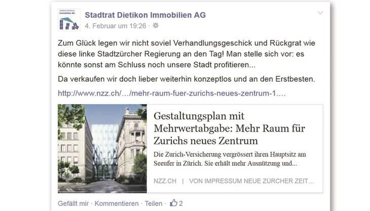 Ein Auszug aus der Facebook-Seite der fiktiven «Stadtrat Dietikon Immobilien AG».