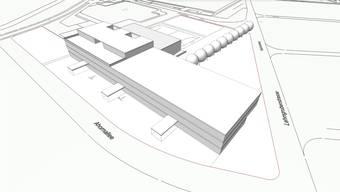 Die Visualisierung verdeutlicht, dass es auf der stadteigenen Parzelle im Kleinholz ausreichend Platz für ein neues Schulhaus mit Dreifachturnhalle hat.