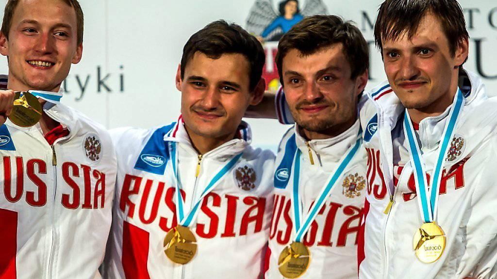 Die russischen Fechter kriegen auch in Rio die Chance (wie auf dem Bild anlässlich der EM in Torun/Polen) Medaillen abzuräumen