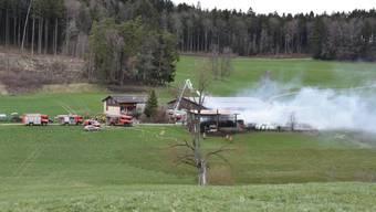 Schaden in der Höhe von mehreren zehntausend Franken ist beim Brand eines Schuppens in Dietschwil SG entstanden.
