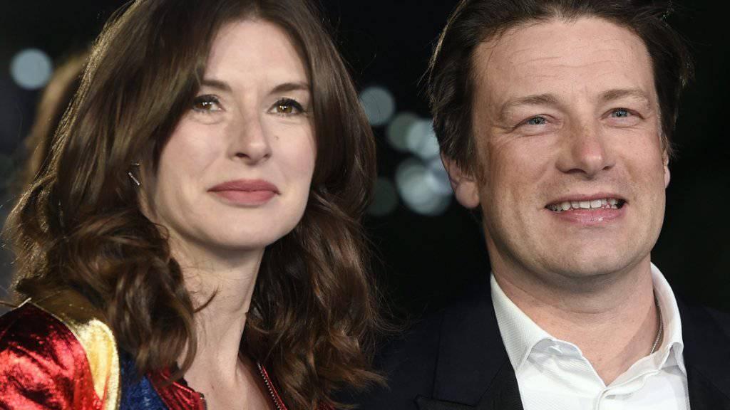 Jamie Oliver und seine Frau Jools am Donnerstag bei der Europapremiere von «Eddie the Eagle», wo die beiden die Bombe platzen liessen: fünftes Kind im Anflug.