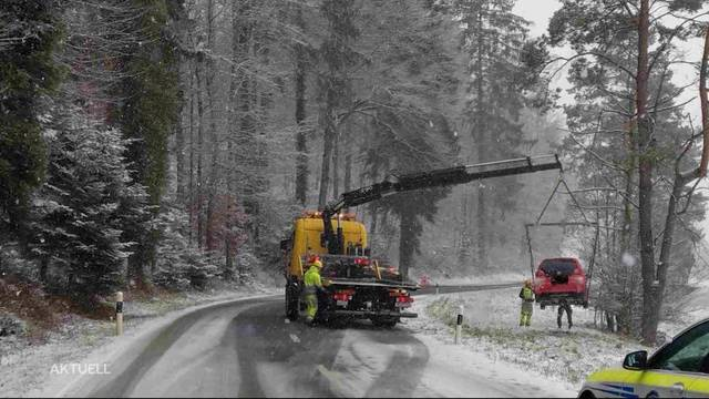 Erster Schnee sorgt für Verkehrsunfälle
