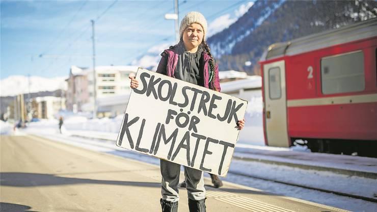 Wie letztes Jahr reist Greta Thunberg auch heuer ans WEF.  Bild: Keystone (Davos, 23.1.2019)