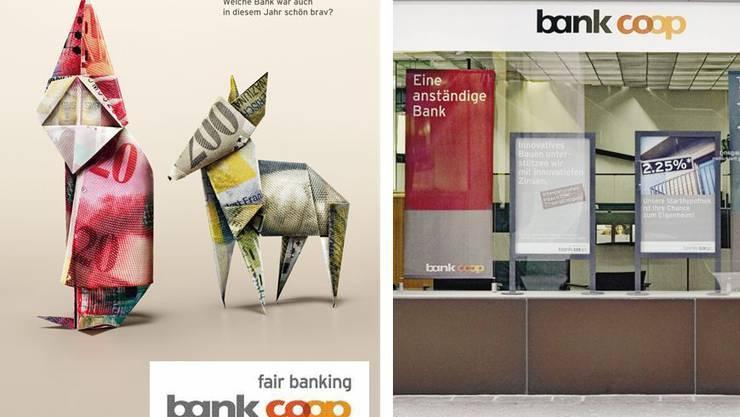 «Welche Bank war auch in diesem Jahr schön brav?», fragt die Bank Coop im Dezember 2007. Im Jahr 2014 gibts bestimmt kein Mandarinli vom Samichlaus. Nebenan: «Eine anständige Bank», meint Bank Coop in Zusammenhang zur alljährlichen 1.-Mai-Feier.