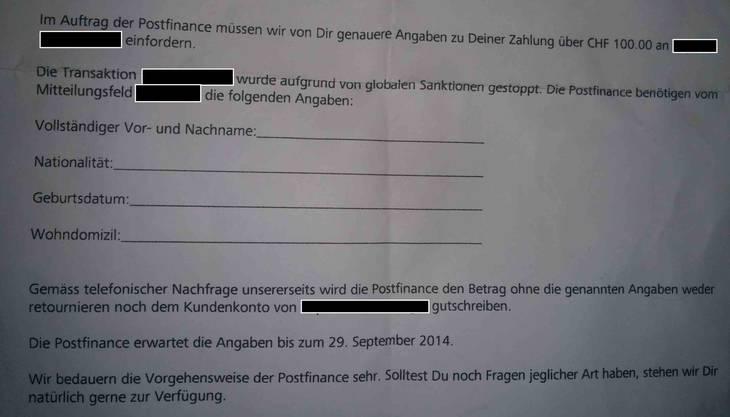 Ausriss aus dem Brief, den Sandro vom Kundenberater seiner Bank erhielt.
