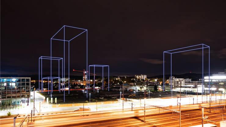 Zu sehen sind die vier Hochhäuser und der Zwischentrakt. Das eigentliche Stadion ist auf dem Gelände mit konventionellen Profilen ausgesteckt. Bild: air-view.ch, Luzern / Martin Schumacher