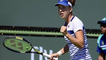 Freude bei Belinda Bencic nach ihrem bisher grössten Sieg