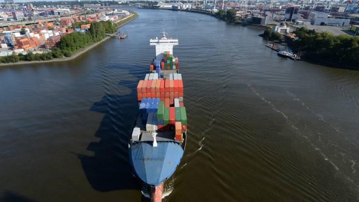 Ein Containerfrachter fährt im Hamburger Hafen über die Elbe. (Archiv)