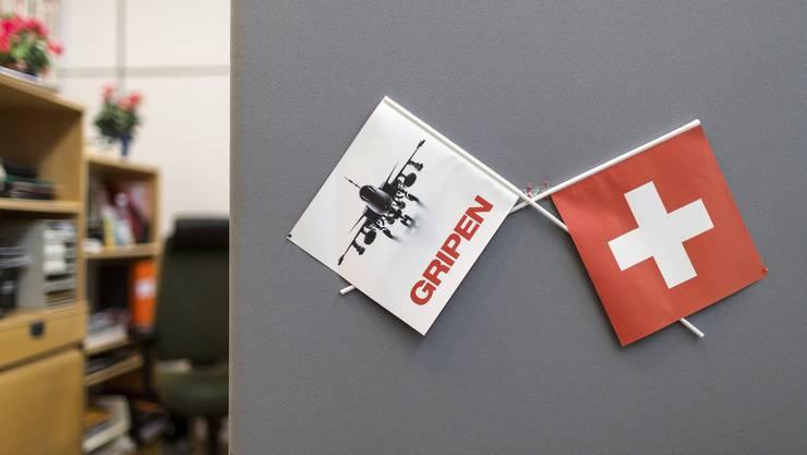Die Zusammenarbeit ist vorerst beendet: Schweizer Fahne im Saab-Werk von Linköping