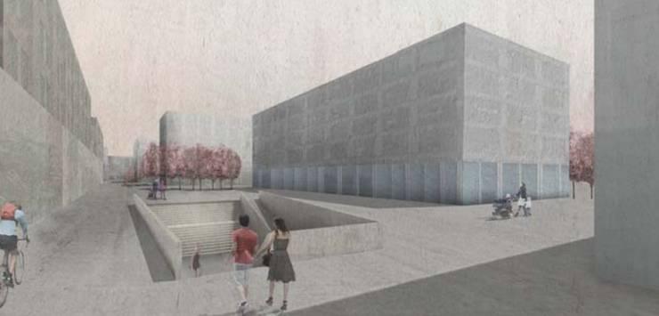 Visualisierung des Abgangs zur Personenunterführung vor den Ersatzbauten «Espace»